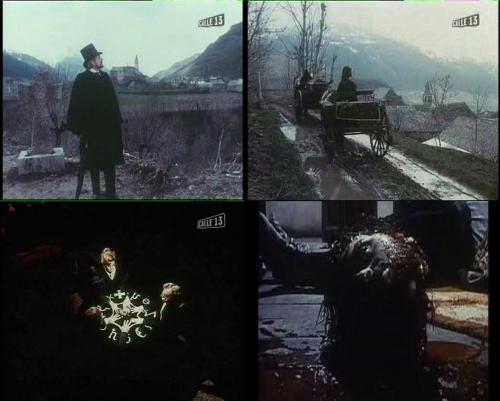 Des cadres bergmaniens à la magie noire en passant par le gore (image en bas à droite censurée sur la version espagnole), Merino multiplie les ambiances cinématographiques dans Les Orgies macabres.